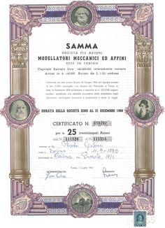SAMMA MODELLATORI MECCANICI ED AFFINI SOC. PER AZIONI - #scripomarket #scriposigns #scripofilia #scripophily #finanza #finance #collezionismo #collectibles #arte #art #scripoart #scripoarte #borsa #stock #azioni #bonds #obbligazioni