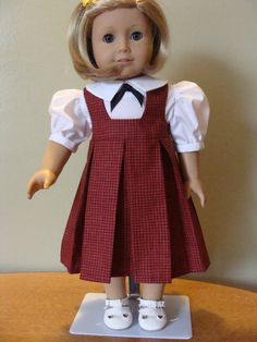 Red and black checked jumper and blouse for 18 inch doll $22