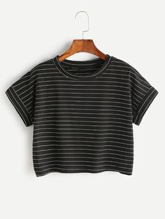 Shop Black Pinstripes Crop T-shirt online. SheIn offers Black Pinstripes Crop T-shirt & more to fit your fashionable needs. Cute Comfy Outfits, Trendy Outfits, Summer Outfits, Fashion Outfits, Cute Pajama Sets, T Shirt Crop Top, Teen Girl Outfits, Cute Tops, Elegant