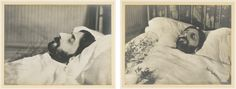 [Anonymous] MARCEL PROUST ON ITS BED OF DEATH, PROFILE AND FACE. [19-21 NOVEMBER 1922.] 2 ORIGINAL PHOTOGRAPHS. Periodical silver prints (168 x 215 mm and 166 x 217 mm), laminated on cardboard. Small spot on the bottom edge of the profile portrait. 2 portraits of Proust on his bed of death, profile and face.  anonyme marcel proust sur so ||| memorabilia ||| sotheby's pf1603lot8x2jren