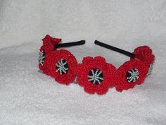 Handmade in Ukraine crocheted beaded flowers headband hair band made to order by royalknitting on Etsy