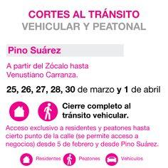 Cortes viales en el perimetro Zócalo. Pino Suárez.