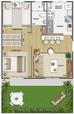 Projetos Apartamentos 50m2 Pesquisa Google Plan Maison Plan Petite Maison Maison 3d
