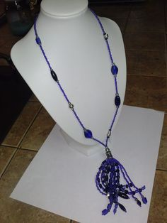 Vintage Cobalt Blue Glass & Silver Sautoir Necklace...All the Glass just dazzles! Made by Artisan one of a vintage kind piece! Ebay- Kat_1711 or Etsy > DesignbyKati Check out my Jewels Listed :)