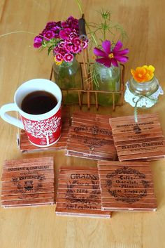 Using pallets in crafting and home decorating is all the rage these days. Add a whimsical touch to your decor with these cute, and handy, pallet coasters made from popsicle sticks.