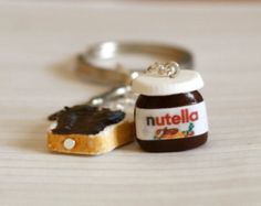 Nutella Miniature polymer clay keychain with tiny knife and smeared bread