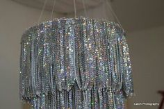 Sequin chandelier tied to a sewing hoop!