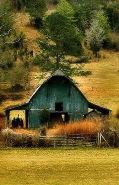 green barn with one front tooth