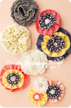 Fabric Flowers - love the colors...  would be awesome to do a wreath with these