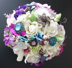 Exquisite Jewel Toned Brooch Studded Bridal by BlueLilyBridal, $265.00
