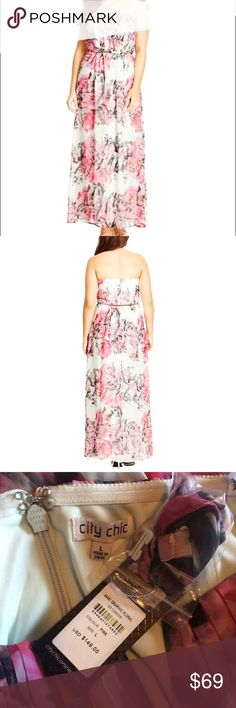 NWT 20 plus Size Floral gown A dramatic floral print washed with sweeps of bright color enhances the romantic appeal of a captivating, strapless chiffon maxi. A tantalizing notch at the neckline and lavish pleating at the bodice puts the focus on beautiful décolletage. Size 20 ( city chic L)  Hidden back-zip closure. Notched, strapless neckline. Detachable shoulder straps (not shown). Lined, with boning and rubber gripper in bodice. 100% polyester. City Chic Dresses Maxi