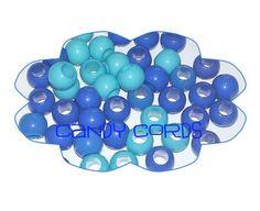 40 Large Hole BLUES Mix Round Acrylic Macrame Beads Loom Bands Fit European