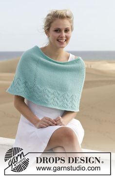 A stylish little poncho - and fun to make! Free pattern available online! #knitting #dropsdesign #ss2014