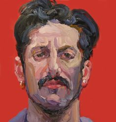 """Portrait 8 in Red - 13"""" x 13"""" - Oil on Glass - 2011"""