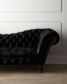 Black Leather Recamier Sofa at Neiman Marcus. Victorian Decoration is a way of traveling into the most elegant times. A mix of many styles, resulted into an eclectic style. See more inspiring interiors here:http://www.pinterest.com/homedsgnideas/
