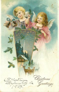 angel left in purple dress holds bells, angel right in pink holds evergreen, inset cottage & deer