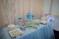 Frozen birthday party dessert table! See more party planning ideas at CatchMyParty.com!