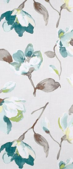 Braemore Fleur Summer Fabric in gray, white and turquoise floral $30.45 per yard (1 - 9 yards)