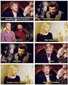 The Hobbit: The cast tries to name all the dwarves. Good job, team. (gif) OMG! Martin in the 3rd one He's in! OMG, this made me laugh WAY too much!! Gandalf, Legolas, Fellowship Of The Ring, Lord Of The Rings, Hobbit 3, Glorfindel, Desolation Of Smaug, Bilbo Baggins, Jrr Tolkien