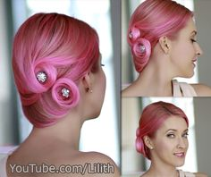 Holiday/prom/wedding updo hairstyle from hair tutorial http://www.youtube.com/watch?v=V5hP-ZZzBM0 Ideal for medium long / shoulder length hair