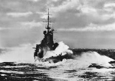 Renown, flagship of Vice-Admiral Sir James Somerville, in command of the Western Mediterranean Fleet, is here seen ploughing through a heavy sea during sweep of the Mediterranean. Hms Hood, Big Guns, Royal Navy, Battleship, Military History, World War Ii, Wwii, Boats, Armies