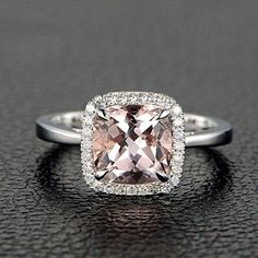 1.25 Carat Cushion Cut Peach Pink Morganite and Diamond Halo Engagement Ring in 10k White Gold for Women on Sale