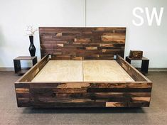 All of our beds are custom made.Low or high platforms, taller headboards or any other special requests and custom orders are welcome. Storage underneath bed is possible Wooden Pallet Beds, Diy Pallet Bed, Diy Pallet Furniture, Bedroom Furniture, Furniture Design, Industrial Furniture, Industrial Lamps, Pipe Furniture, Furniture Vintage