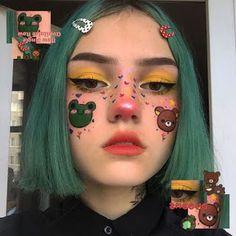Edgy Makeup, Eye Makeup Art, Cute Makeup, Pretty Makeup, Hair Makeup, Pastel Goth Makeup, Makeup Drawing, Grunge Look, Grunge Style