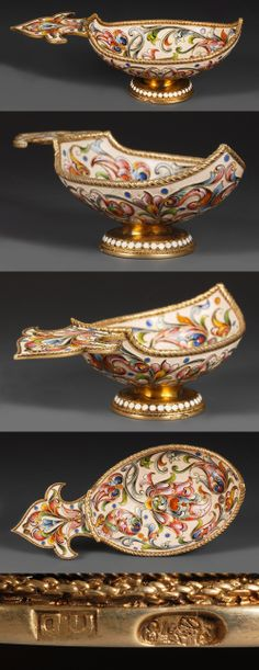 A Russian silver gilt and shaded cloisonne enamel kovsh, Yakov Borisov, Moscow, circa 1896-1908. Of traditional form with raised prow, shaped flat handle and circular base, The kovsh completely decorated with painted polychrome scrolling floral and foliate motifs against a cream ground.