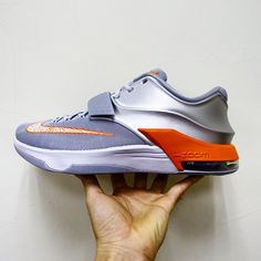 sale retailer 4a9d6 dad6b Nike KD VII 7 EP Texas Wild West Silver Orange Air Kevin Durant Basketball  Shoes