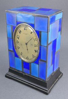 French Art Deco Sterling Silver Enamel John Pochelon Clock Paris Worlds Fair