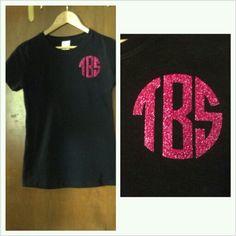 Monogrammed t-shirt using glitter heat transfer vinyl