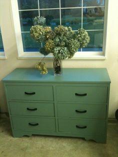 mill springs blue on vintage dresser