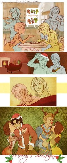 Belle and Rapunzel spend Christmas together. Aww that's so cute!!! They're my favorites :)