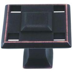 Atlas Homewares Modern Craftsman 1 5/16 in. Venetian Bronze Square Knob-4007-VB - The Home Depot