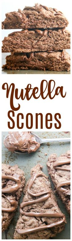 Nutella Scones - a chocolate scone with nutella swirled in and more nutella swirled on top! Perfect for a Valentine's Day breakfast!
