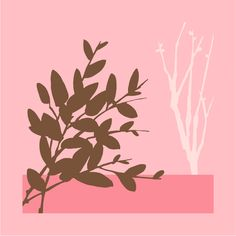"""Green Frog Art """"Metro Leaves I"""" Canvas Gallery Wrapped Art Print in Pink"""