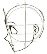 Step 5 Drawing Manga / Anime Faces & Heads in Profile Side View