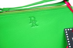DollyRed Harriet purse in lime leather.