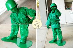 Are you planning to make Halloween costumes for your kids this year? Get inspired by these 23 DIY Halloween Costume ideas! Army Men Costume, Toy Soldier Costume, Diy Halloween Costumes For Kids, Halloween Eyes, Spooky Halloween, Halloween 2013, Homemade Halloween, Couple Halloween, Halloween Party