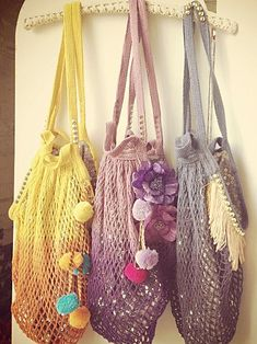 knit inspiration via Free People Shimmering Beach Bag. Line with sequins and embellish.