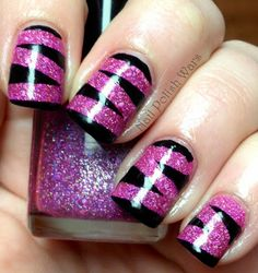 Pink Sparkle Criss Cross Nails ~ they look a little like abstract Zebra nails! Get Nails, Fancy Nails, Love Nails, How To Do Nails, Pretty Nails, Hair And Nails, Cross Nails, Zebra Nails, Uñas Fashion