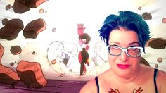My good friend Jen with her favorite cartoon show Steven Universe for the background.