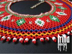 Ukrainian seed bead necklace kryza Lemko krywulka Traditional | Etsy Seed Bead Necklace, Multi Strand Necklace, Boho Necklace, Seed Beads, Fringe Earrings, Beaded Earrings, Beaded Jewelry, Pearl Jewelry, Beaded Collar