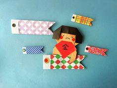 折り紙で金太郎くんと鯉のぼり