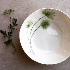 Porcelain bowl with hand painted greenery www.hartstudios.com.au