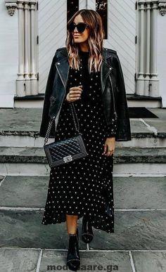 black on black biker jacket bag boots printed dress Fashion Moda, Fashion Week, Look Fashion, Trendy Fashion, Fashion Outfits, Fashion Tips, Fashion Trends, Fashion Videos, Fashion Styles