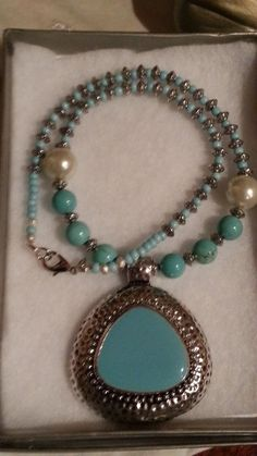 Faux Turquoise & Silver Pendant w/ Glass Pearls by DesignsByAzi, $20.00