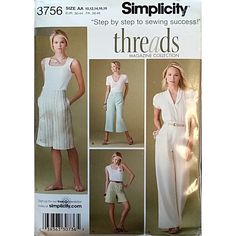 Misses Pants Shorts Two Lengths Simplicity 3756 Sewing Pattern Size 10-18 c1625
