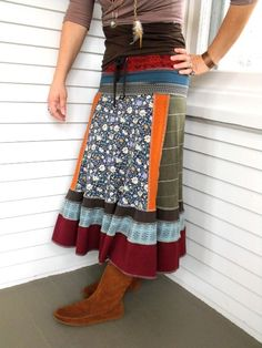 Upcycled Clothing Eco long boho SKIRT patchwork repurposed jersey earthy bold folk mixsize S by Zasra Romantik Mode Redo Clothes, Sewing Clothes, Look Fashion, Diy Fashion, Boho Gypsy, Altered Couture, Boho Skirts, Cycling Outfit, Diy Clothing
